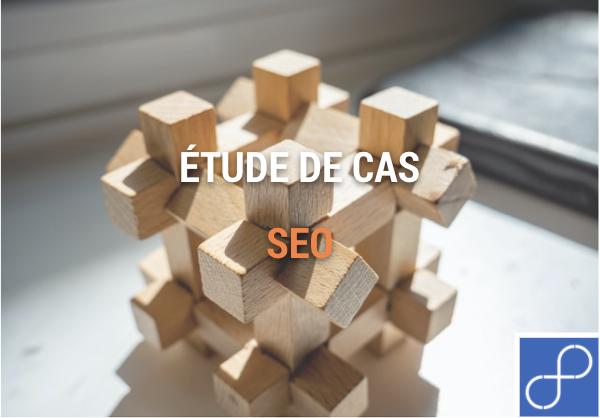 Rubik's cube en bois avec le titre étude de cas SEO