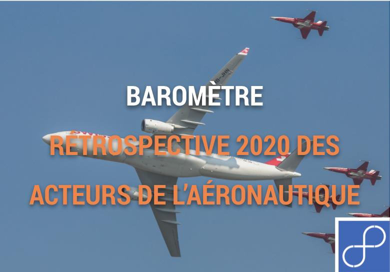 """Image d'un avion dans le ciel avec le titre """"rétrospective 2020 des acteurs de l'aéronautique"""""""